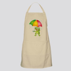 Frog Under Umbrella in the Rain Apron